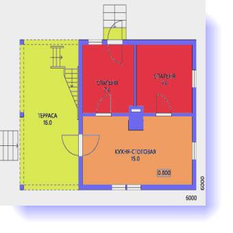 План первого этажа дома 7 на 7 с террасой