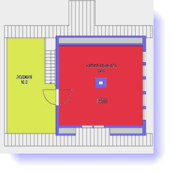 План второго этажа дома 7 на 7 с террасой