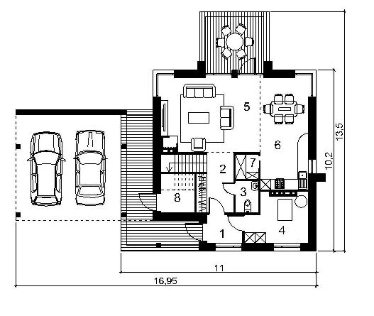 План первого этажа дома с навесом для машин