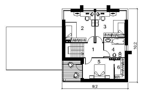 План второго этажа дома с навесом для машин