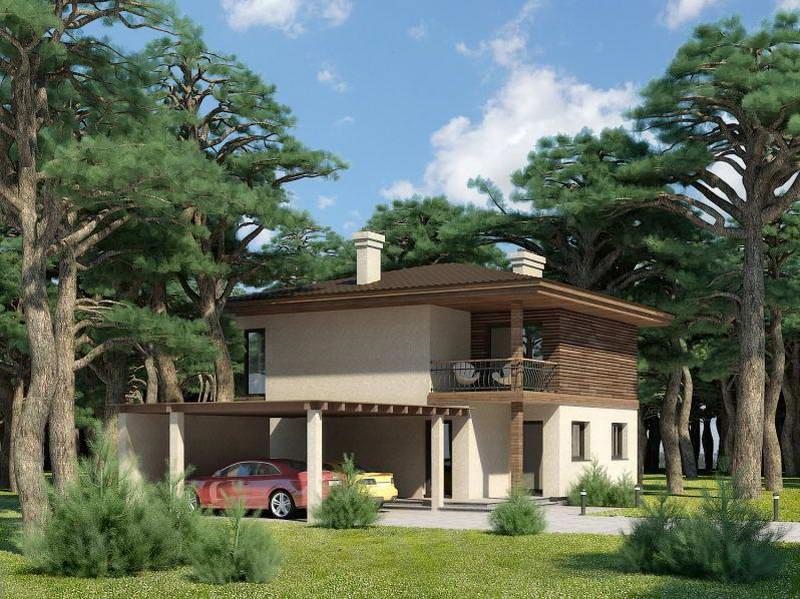 Проект и планировка дома с навесом для машин