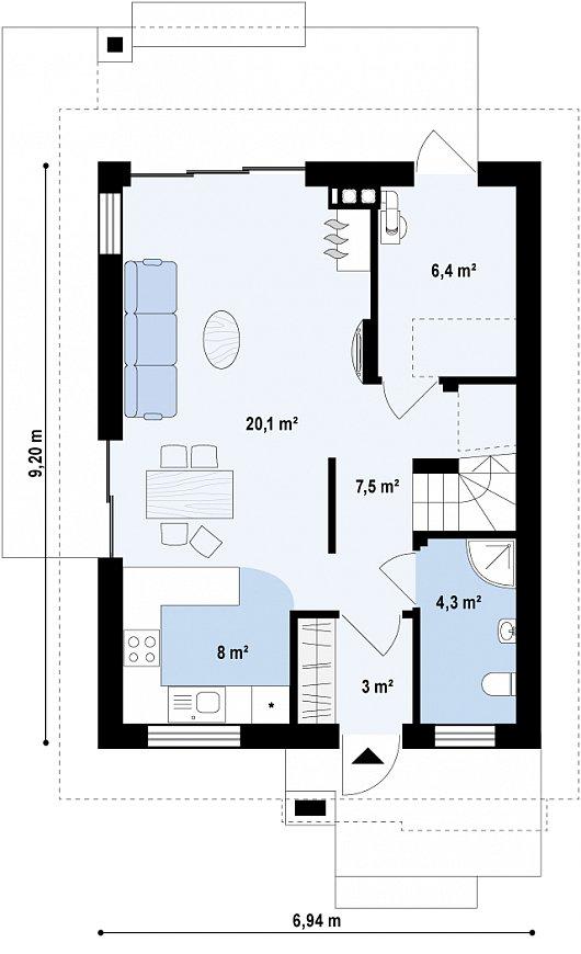 Планировка первого этажа дома с сауной