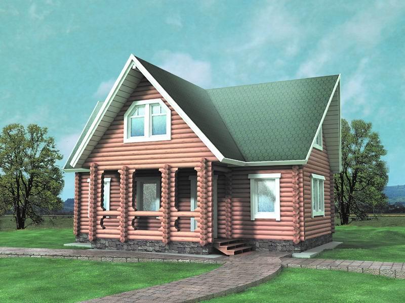 Двухэтажный дом с широкой террасой