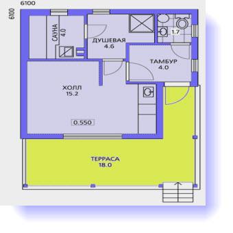 План загородной бани 6 на 6