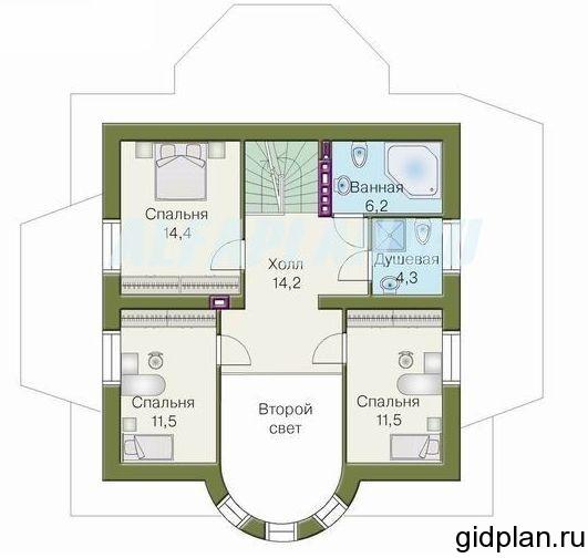 дача планировка 2 этажа со вторым светом