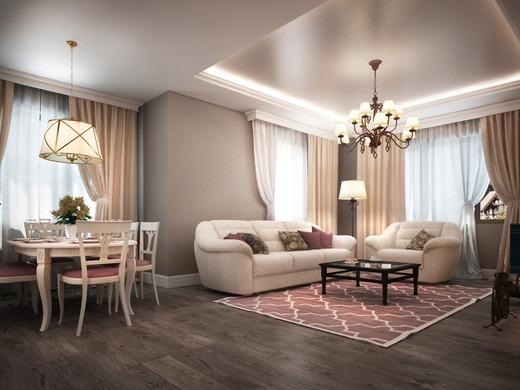 дизайн интерьера гостиной-столовой