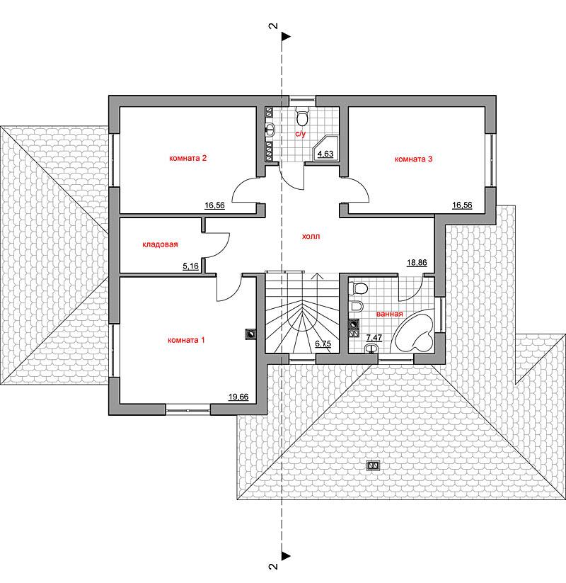 План второго этажа дома 300 кв.м.
