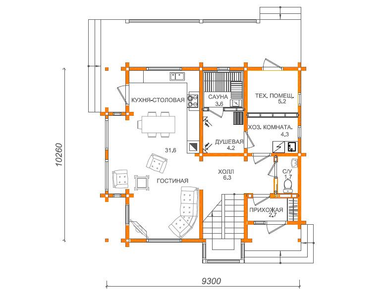 План первого этажа дома 10 на 10 в английском стиле