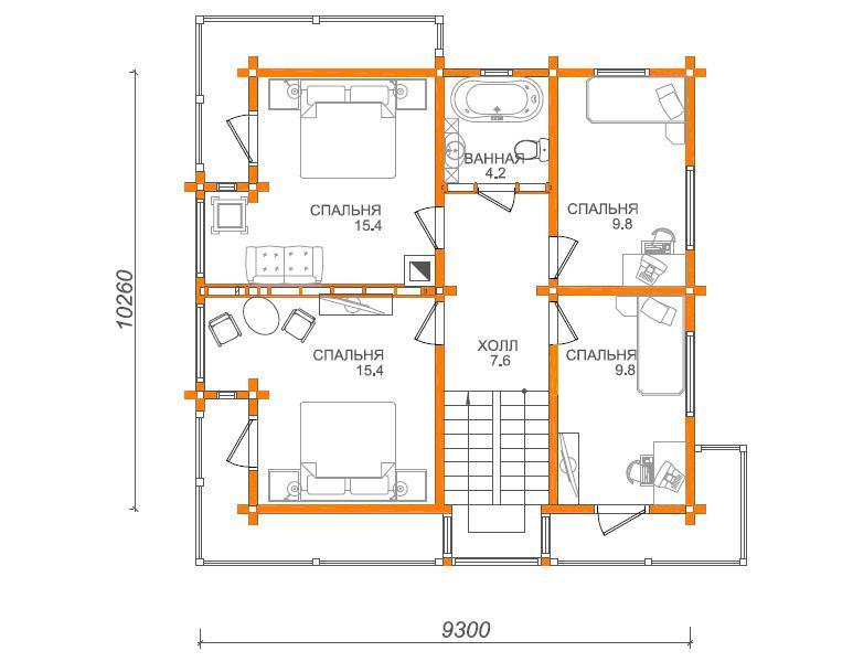 План второго этажа дома в английском стиле