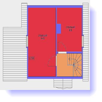 План второго этажа дома 7 на 7 с баней