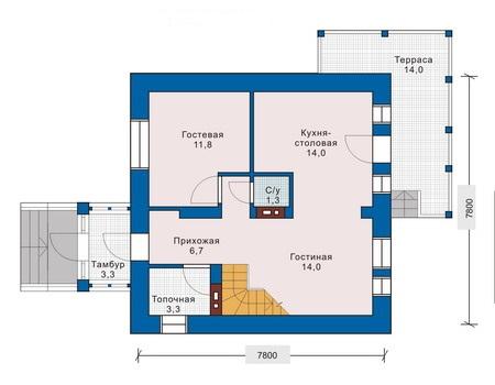 План первого этажа двухэтажного дома 8х8