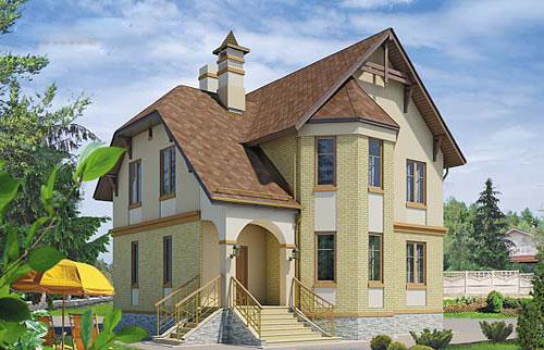 Двухэтажный дом с камином