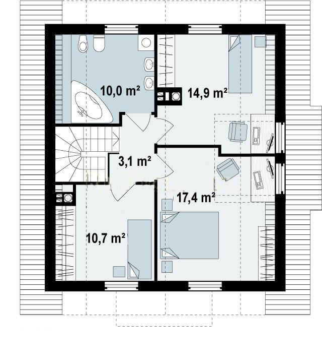 план второго этажа дома 9х9