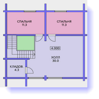 План второго этажа дома с угловой террасой
