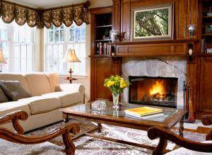 интерьер гостиной дома в английском стиле