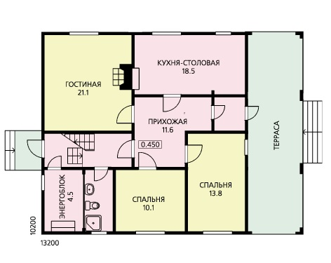 План первого этажа дома 10 на 13 для постоянного проживания