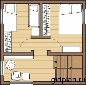 план второго этажа дома 6х6