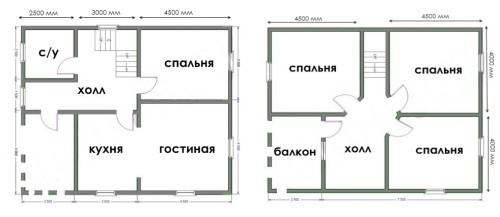 план двухэтажного дома 8х10