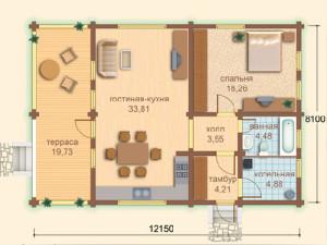 план дома из бруса 8х12