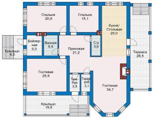 план дома с гостевой комнатой