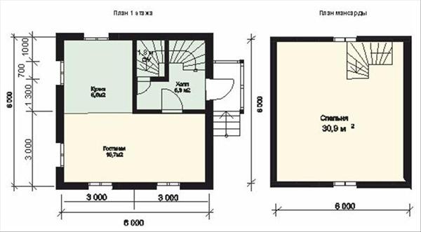 планировка двухэтажного дачного дома 6x6