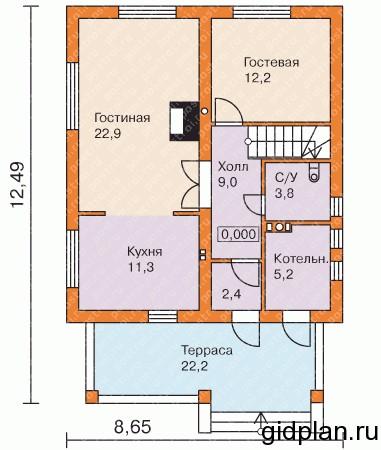 планировка двухэтажной дачи 1 этаж