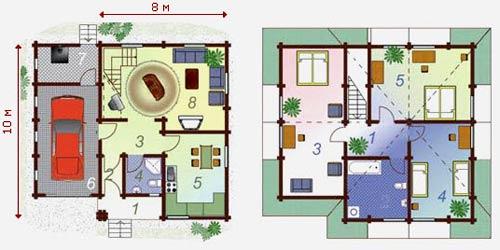 планировка дома 10x8