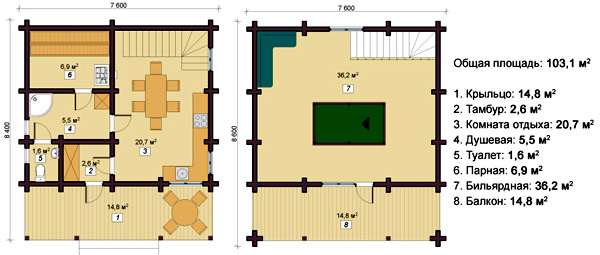 двухэтажная баня 7x8