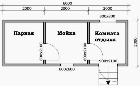 план бани 6x2,3