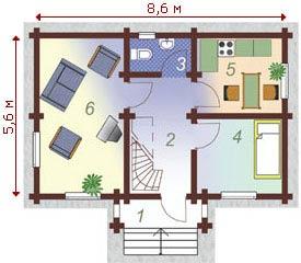 планировка с гардеробной и гостинной
