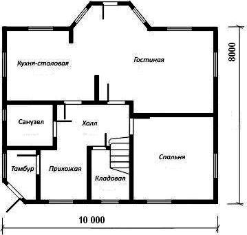 панировка дома 8x10