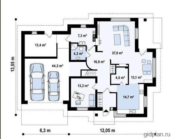 план 1 этажа дома с гаражом на 2 машины