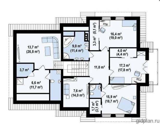 план 2-го мансардного этажа в доме