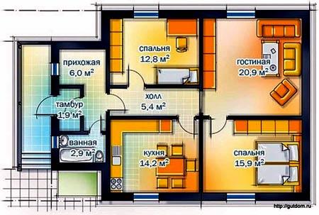 планировка дома 6 на 9