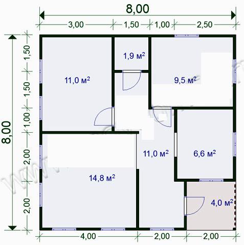 одноэтажный дом 8x8