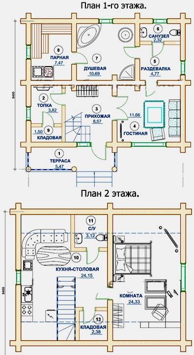 планы двух этажей