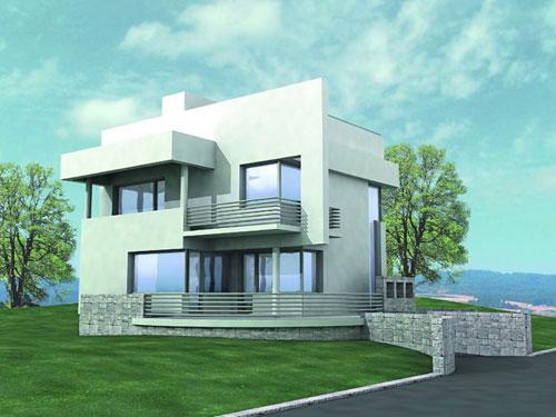 проект современного коттеджа с гаражом и цокольным этажом