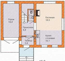 Оригинальная планировка небольшого двухэтажного дома