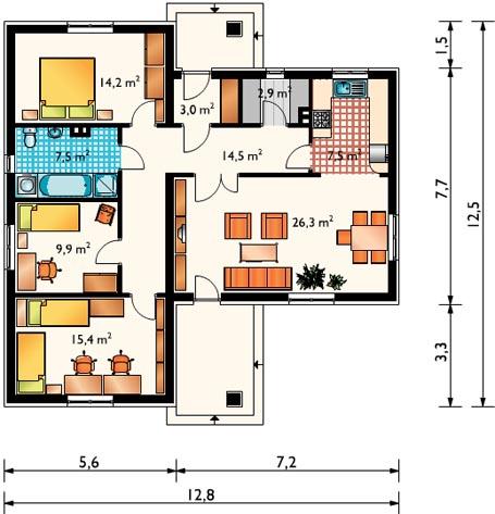 планировка дома 12 на 12