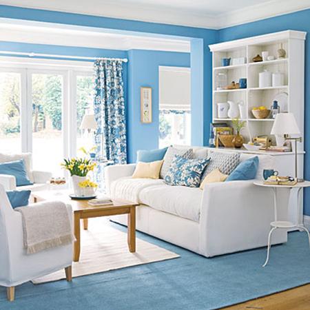 гостиная в голубых тонах