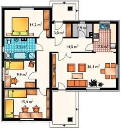 Нетиповая планировка одноэтажного дома 12х12