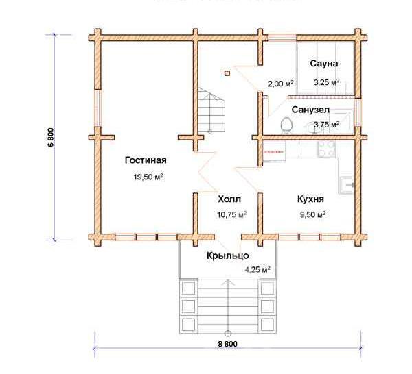 План первого этажа дома 6 на 8 с оригинальным оформлением