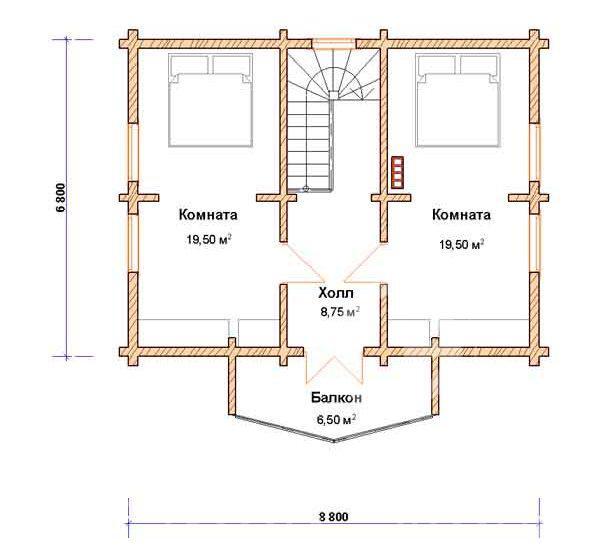 План второго этажа дома 6 на 8 с оригинальным оформлением