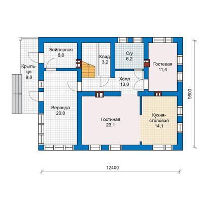 план первого этажа дома 10 на 12