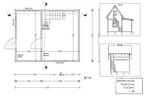 планировка и проект домика 3х4