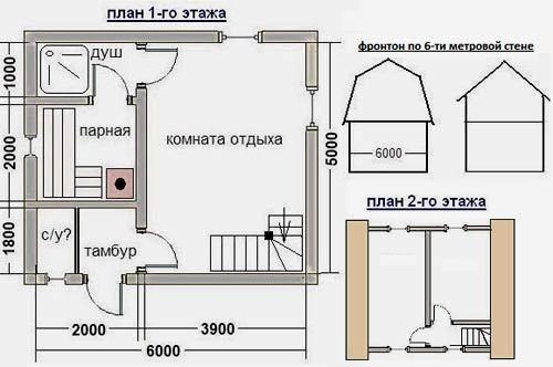 планировка бани 5x6