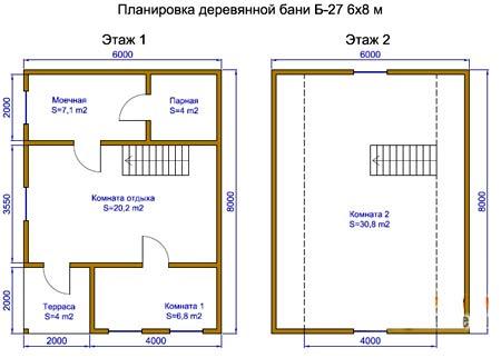 планировка бани 6 на 8 метров