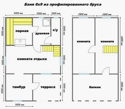 проект бани 6x9