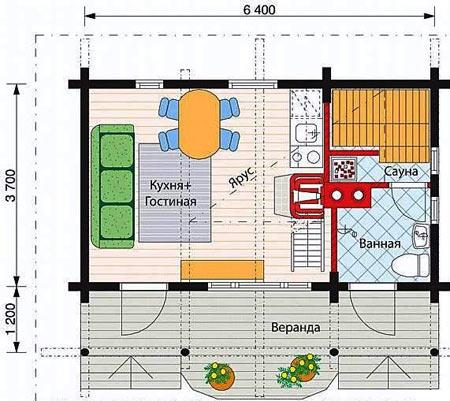 планировка сауны с кухней