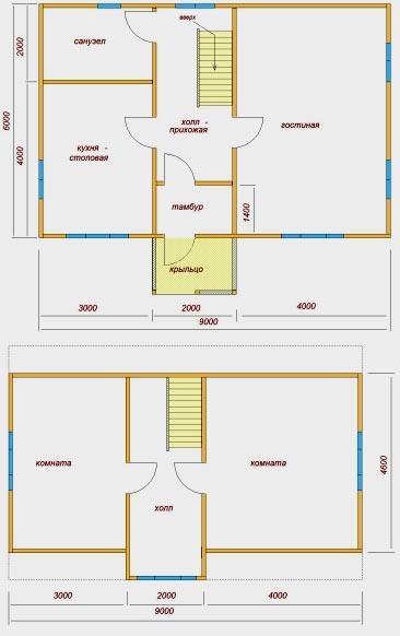 дом с мансардой 6x9